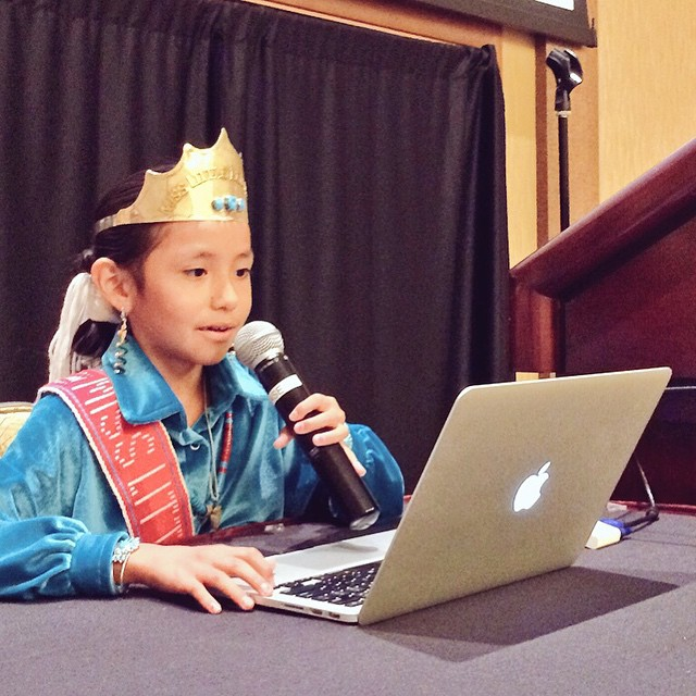 Megan Tsosie of Red Mesa Elementary School shares her Prezi presentation this morning. #nativeInnovate